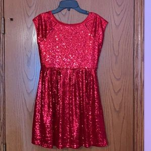 Girl's red sequin party dress